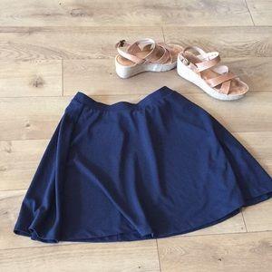 Navy Blue matte thick Jersey Skater Skirt small